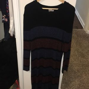 Blue/Navy/Orange striped sweater dress